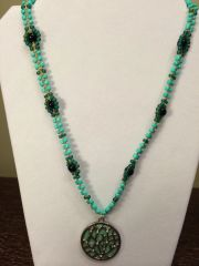 22 inch Necklace Teal with Tree Branch Pendant