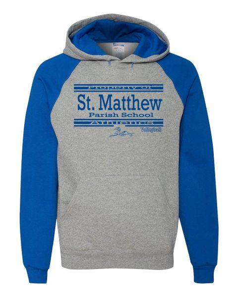Jerzees #96CR Colorblock Adult Size (Heather/Royal) Hooded Sweatshirt