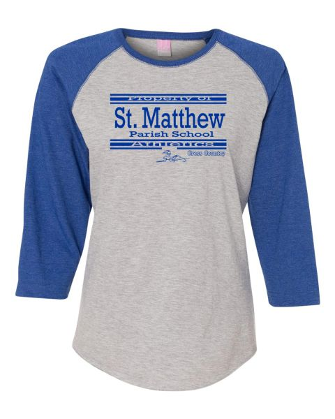 Ladies LAT #3530 Raglan Sleeve Baseball (Heather/Royal) T-Shirt