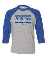 Mens LAT #6930 Raglan Sleeve (Heather/Royal) Baseball T-Shirt