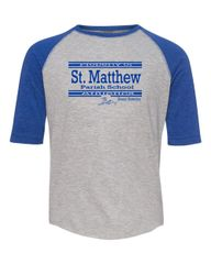 Youth Size LAT #6130 Raglan Sleeve (Heather/Royal) Baseball T-Shirt