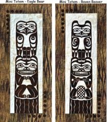 Totem, 2 Wallhangings included in Pattern, Raven Beaver and Eagle Bear