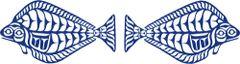 Halibut Pair, Blue Batik Lasercut Applique