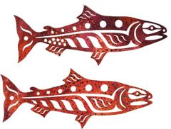 Mini Salmon Autumn Pair Lasercut Applique