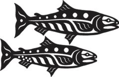 Mini Salmon Pair, Black Batik Lasercut Applique