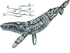 Humpback Whale Lasercut Appliqué, Grey