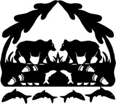 Silhouette of Alaska's Bears Applique Fusible Lasercut
