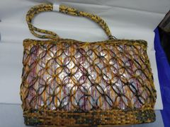 Green and Beige Straw Purse