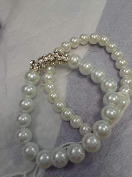 White Dual Bead Bracelet with Stones