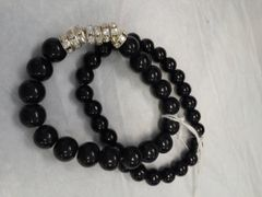 Black Dual Bead Bracelet with Stone