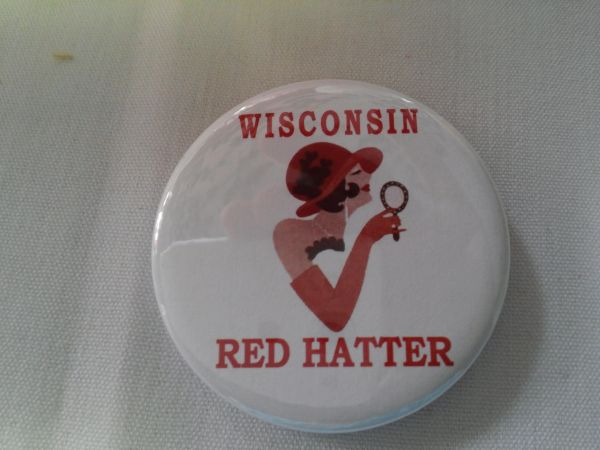 Wisconsin Red Hatter Button