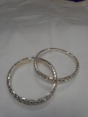 1 and 2 Strain Rhinestone Bracelet Set