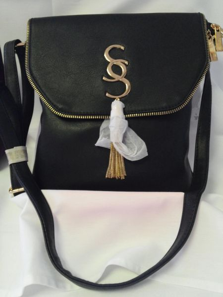 Black Leather Cross Body Handbag