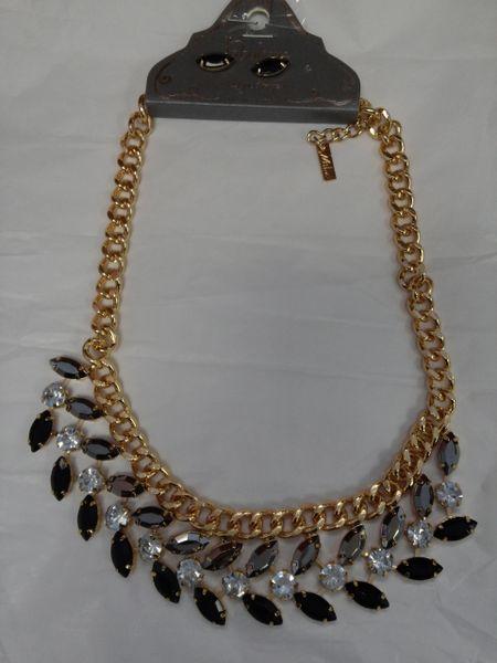Black and Grey Rhinestone Necklace Set