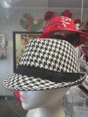 Black and White Houndstooth Fedora