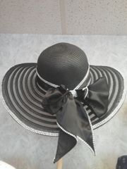 Large Wide Brim Black Hat with Bling
