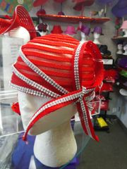 Red Swirl Hat with Roped Rhinestones