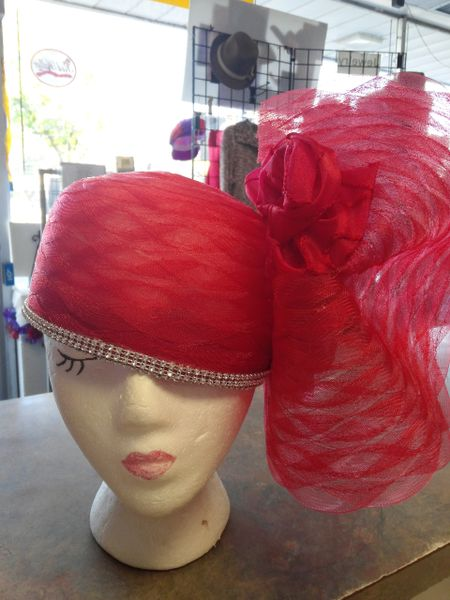 Lightweight Red Hat with Rhinestones and Roses
