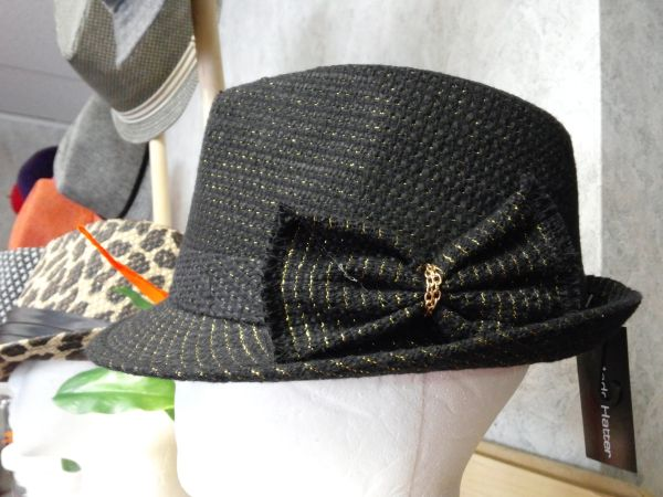 Black and Gold Fedora with Bow