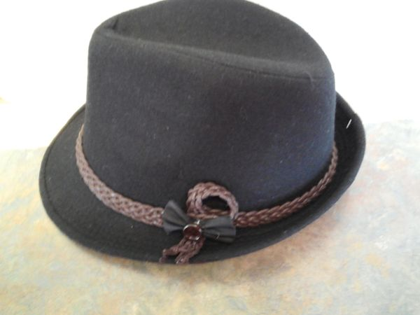 Black Fedora with Brown Rope Ban