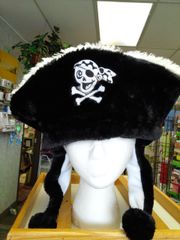 Black with White Fuzzy Pirate's Skull Hat with Balls