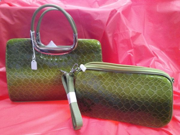 Green Faux Leather Snake Skin Purse Set