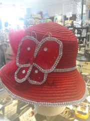 Red Butterfly Straw Hat with Rhinestone Trim