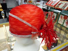 Red Spiked Hat with Rhinestones