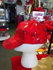 Red Sequin Cap with Stones #2629