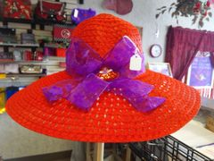 Red Straw Hat with Purple Band #2760