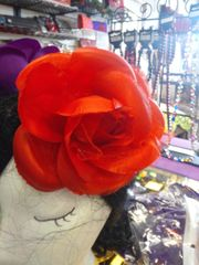 6 inch Red Satin and Chiffon Flower #2795