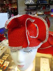 Red Straw Rhinestone Hat #2824