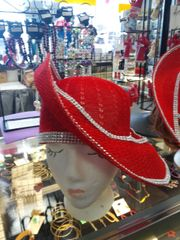 Red Soft Straw Hat #2844