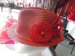 Red Straw Fedora Hat #2864