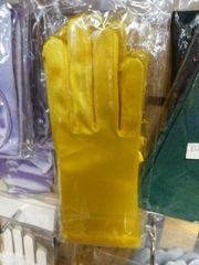 Short Yellow Satin Gloves #2871