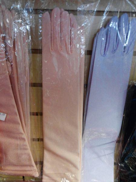 Ex Long Satin Peach Gloves #2875