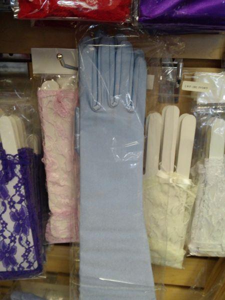 Lt Blue Satin Gloves - Medium #2880