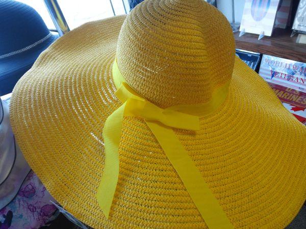 Yellow Wide Brim Straw Hat #2957