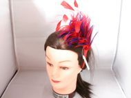 Red w Purple Feather Headband #3105