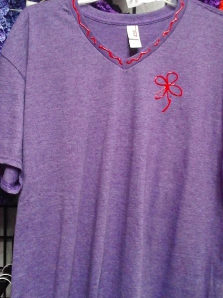 Heather Purple V Neck Tee #3117