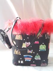 Black Purse with Feathers