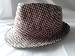 Unisex Brown and Beige Houndstooth Fedora