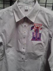 Dark Red Stripe Shirt with Applique #4700