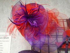 Red and Purple Crushable Hat with Fufu #4701