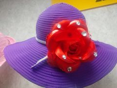 Purple Hat with Red Rose 5200