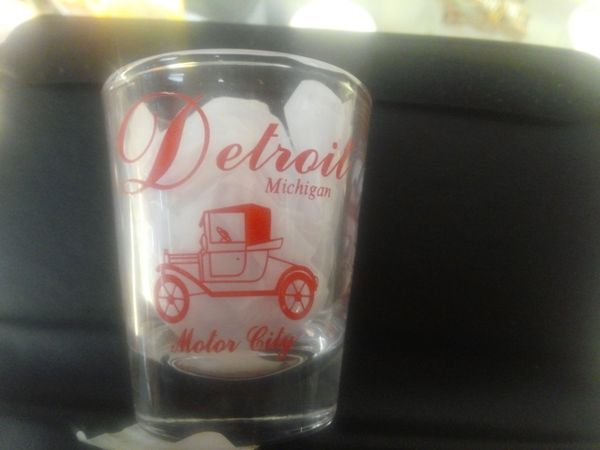 Detroit Car Shot Glass-Red #1436