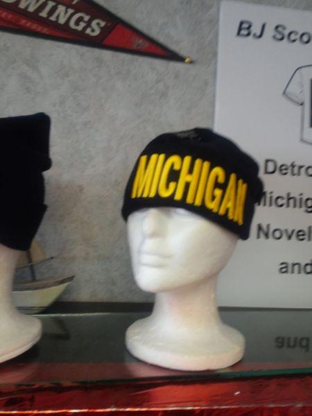 Navy w Yellow Michigan Knit Cap 5881