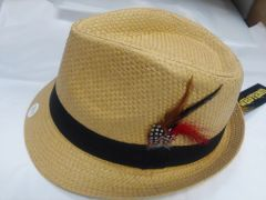 Beige Fedora with Feather M10