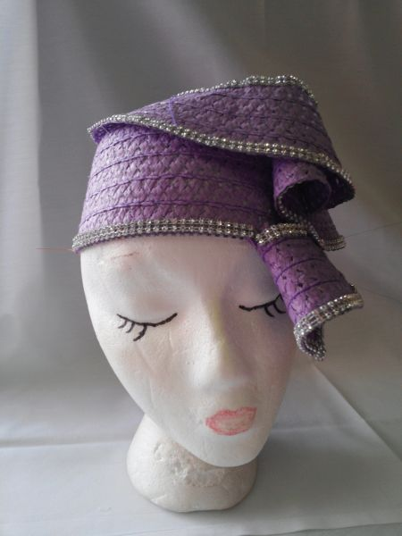 Lavender Soft Straw Hat with Stones