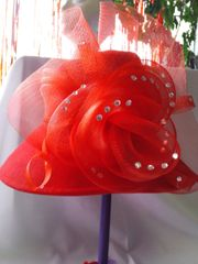 Large Red Wool hat with Stones